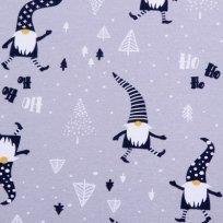 Bavlněný úplet vánoční skřítek na šedé