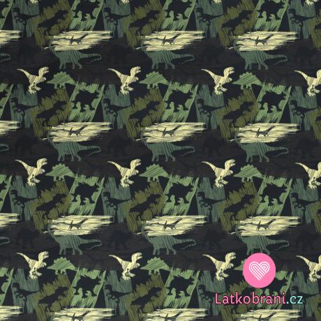 Softshell maskovaní dinosauři na zelené s fleecem