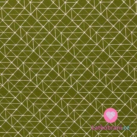 Úplet potisk bílé geometrické tvary na olivové