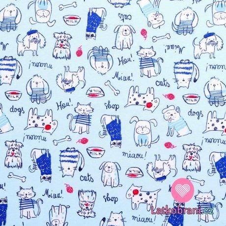 Bavlněný úplet kočky a psi na modré