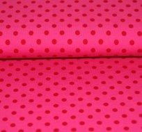 Úplet puntíky oranžovo-růžové na růžové (střední)