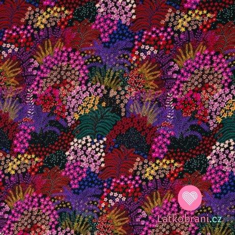 Viskóza potisk pestrobarevný květinový ráj na černé
