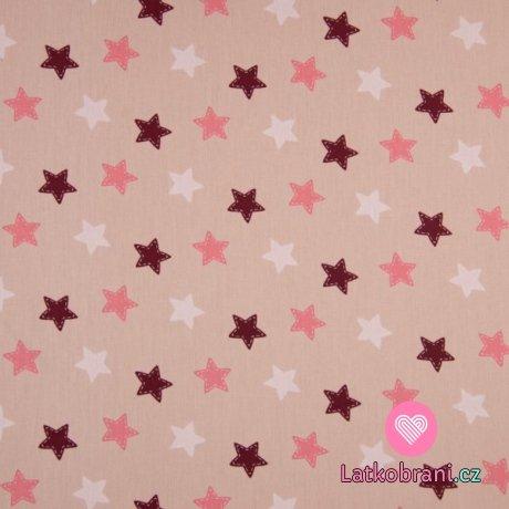 Bavlněný popelín potisk hvězdičky na zaprášené růžové
