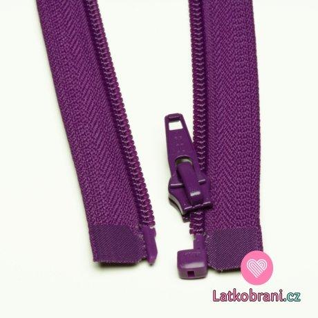 Zip spirálový dělitelný fialový 35cm