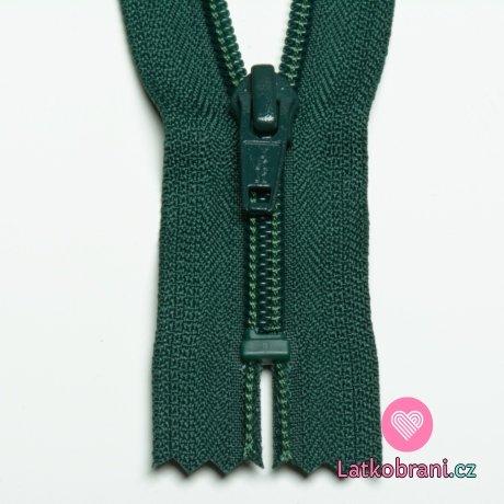 Zip spirálový nedělitelný zelený tmavý 12 cm