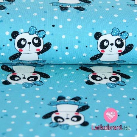 Úplet panda v sukýnce na modré s puntíky