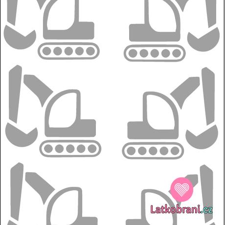 Reflexní nažehlovačka bagry (6ks)