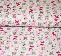 Bavlněný úplet růžový srneček na bílé