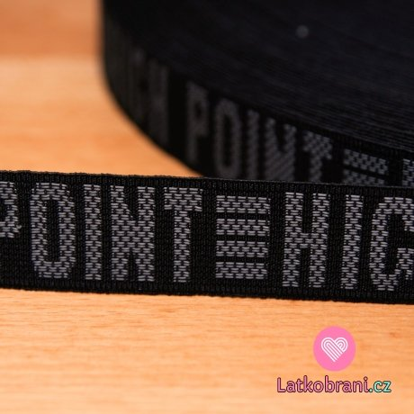 """Pruženka černa nápis """"POINT-HICH"""" 25mm"""