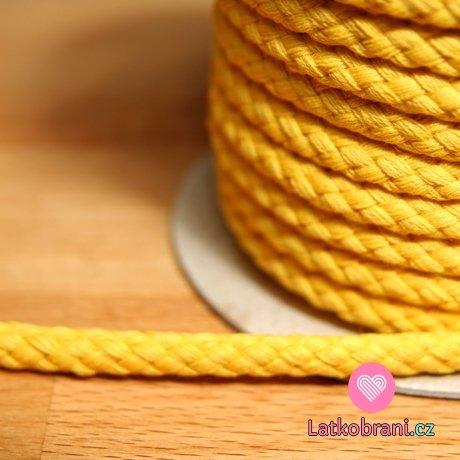 Šňůra kulatá oděvní BAVLNA 9 mm žlutá sytá