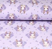 Úplet králíček s mašličkou na pastelově fialové -ZBYTEK