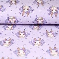 Úplet králíček s mašličkou na pastelově fialové