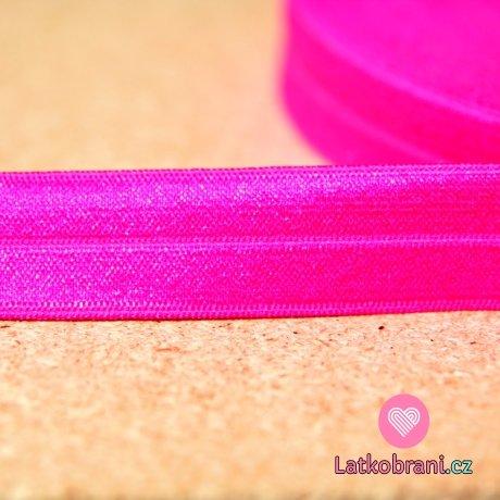 Šikmý proužek / lemovací pruženka neon růžová 19mm