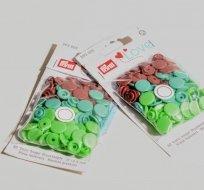 Patentky plastové Color snaps PRYM LOVE světle zelené, zelené, hnědé
