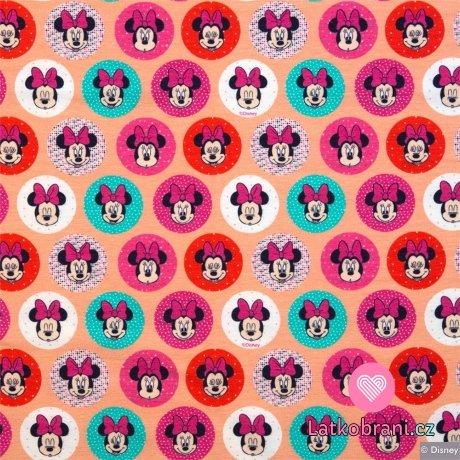 Úplet Minnie hlavičky v barevných kroužcích na meruňkové