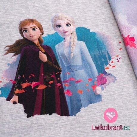 Úplet panel Ledové království 2 - Anna a Elsa na šedém melé
