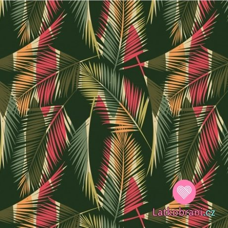 Teplákovina potisk palmové listy na zelené