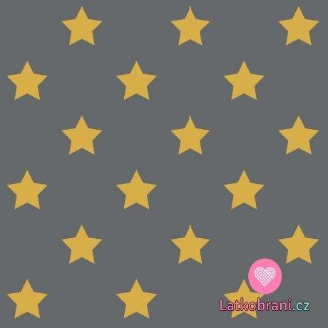 Úplet potisk drobné hořčicové hvězdičky na šedé