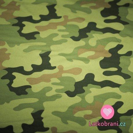 Teplákovina potisk maskáč army zelená, hnědá, šedá, khaki
