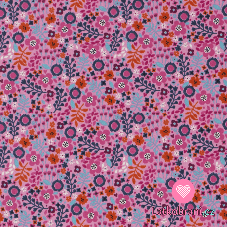 Úplet potisk barevná kvítka na růžové