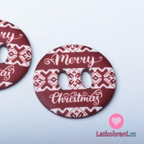 "Knoflík kulatý, hnědý s nápisem ""Merry Christmas"""