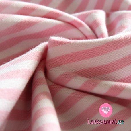 Úplet proužek bílý s růžovou (střední) 4mm