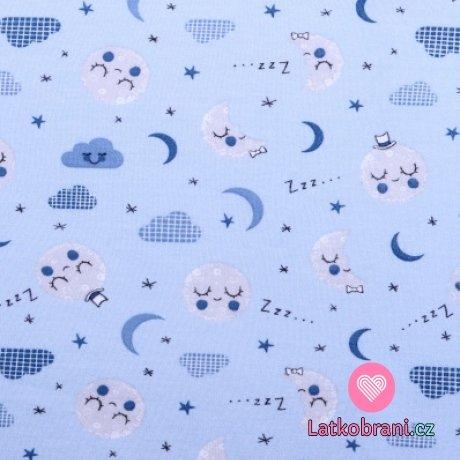 Bavlněný úplet spinkající měsíček na modré