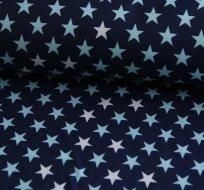 Softshell hvězdy modré, bílé na modro-švestkové (2,5cm)