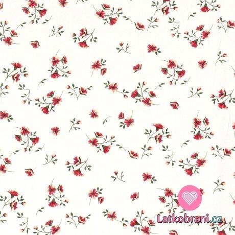 Viskóza potisk drobné květiny na bílé