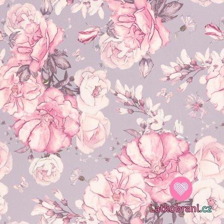 Softshell potisk růže na šedé