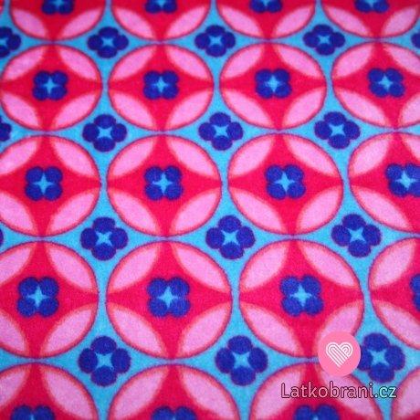 Wellsoft kytičky kruhy růžové na modré