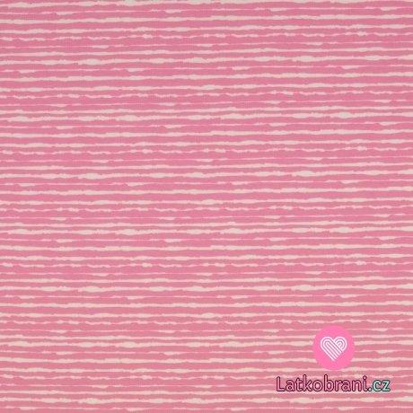 Úplet potisk nepravidelný růžový proužek na bílé