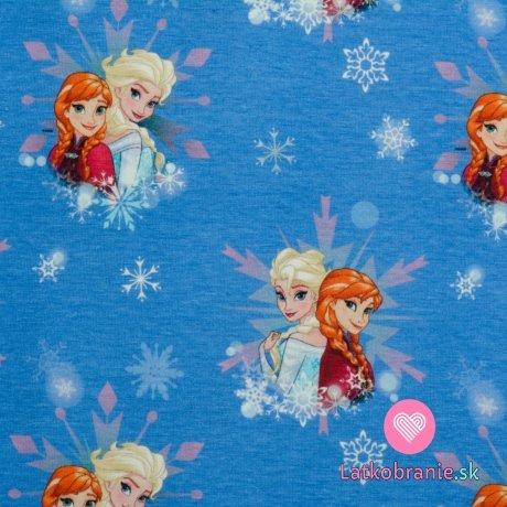 Úplet potisk Ledové království - Elsa a Anna na modré