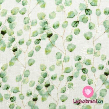 Dvojitá gázovina / mušelín zelené lístečky eukalyptu s výšivkou na bílé
