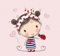 Panel holčička v puntikatém šátku s beruškou na růžové