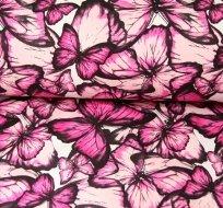 Teplákovina motýlci růžový na smetanové