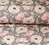 Teplákovina růžičky jemně růžové na šedé
