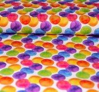 Úplet duhové puntíky fialové stejné na bílé