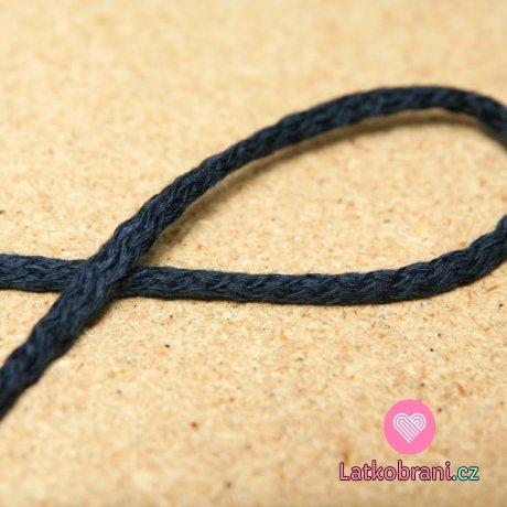 Šňůra kulatá oděvní bavlna 4 mm tmavě modrá