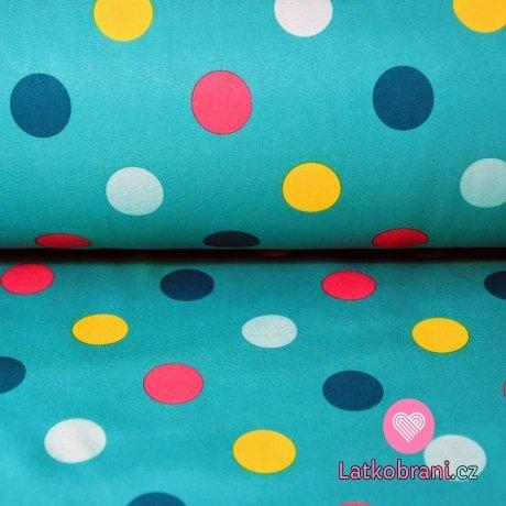 Softshell barevné puntíky na světle petrolejové
