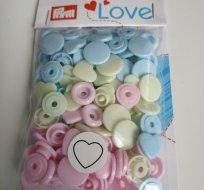 Patentky plastové Color snaps PRYM LOVE - srdíčka modrozelená