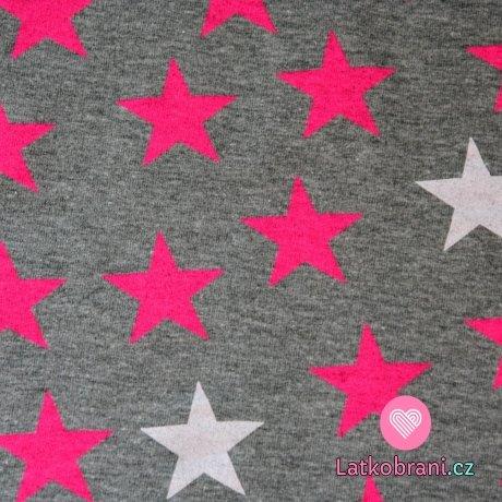 Teplákovina hvězdy neon růžové, bílé na šedé melé