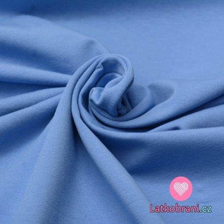 Jednobarevný úplet blankytně modrá 220 g, šíře 180 cm
