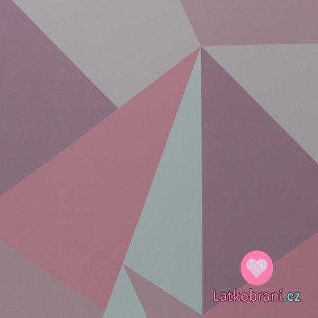 Softshell potisk velké trojúhelníky růžové