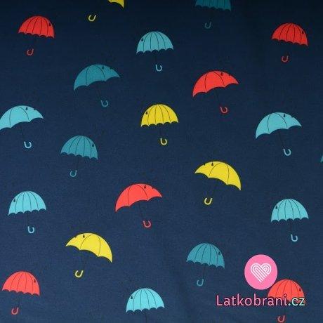Softshell barevné deštníky na námořnické modré
