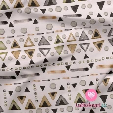 Teplákovina potisk trojúhelníky, puntíky a pomlčky na béžové
