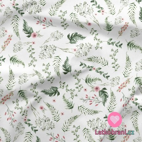 Dekorační bavlna potisk mini šípková růže s listy na bílé
