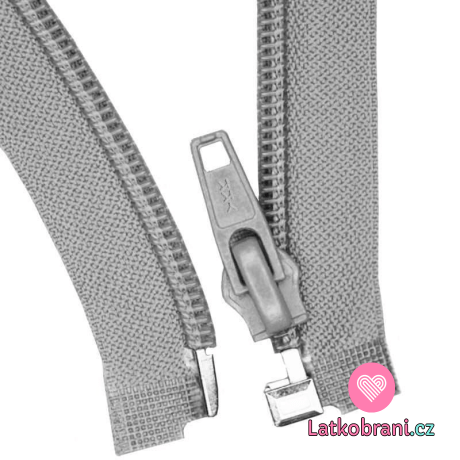 Zip spirálový dělitelný šedý 70cm
