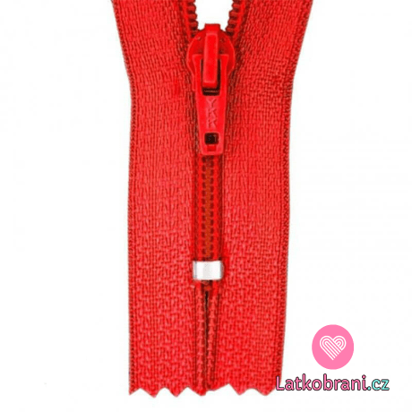 Zip spirálový nedělitelný červený 18 cm