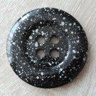 Knoflík mega velký černý se stříbrnými cákanci